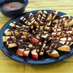 chocolate drizzled pears