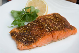 grilled salmon cajun spiced fillet with lemon