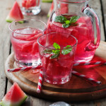 Fresh summer cocktail with watermelon, selective focus